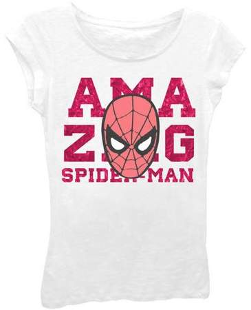 Marvel Amazing Spider-Man Girls' Classic Comic Character Head Short Puff Sleeve Graphic T-Shirt With Pink Foil