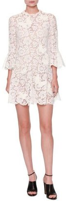 Valentino Butterfly Guipure-Lace 3/4-Sleeve Dress, White $4,980 thestylecure.com