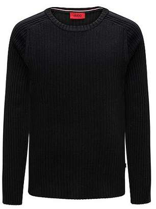 HUGO BOSS Ribbed cotton sweater with sleeve stripe