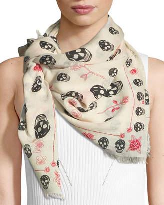 Alexander McQueen Skull & Roses Fringed Scarf