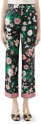 Gucci Flora Print Silk Twill Crop Pants