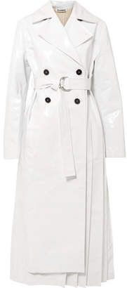 Jil Sander Pleated Coated Cotton-blend Trench Coat - White
