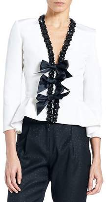 Carolina Herrera Embellished Bow-Front Peplum Jacket