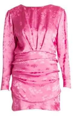 ATTICO Floral Jacquard Draped Mini Dress