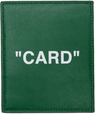 Off-White Green Quote Card Holder