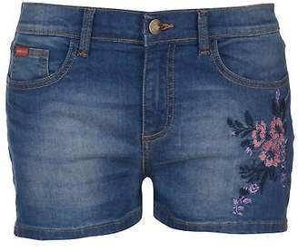 Lee Cooper Womens Embroidered Shorts Denim Pants Trousers Bottoms Zip Floral