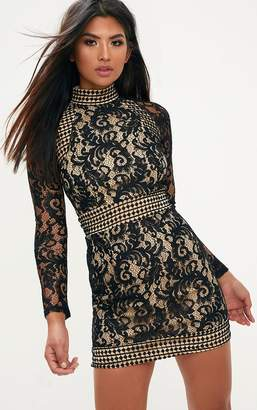 PrettyLittleThing Black Lace High Neck Bodycon Dress