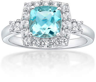 FINE JEWELRY Womens Simulated Aquamarine & Lab-Created White Sapphire Sterling Silver Cocktail Ring
