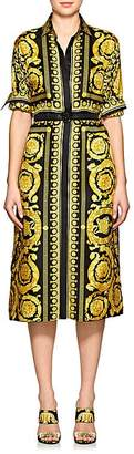 Versace Women's Baroque-Print Silk Belted Shirtdress