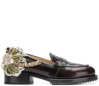 No.21 crystal patch chunky loafers