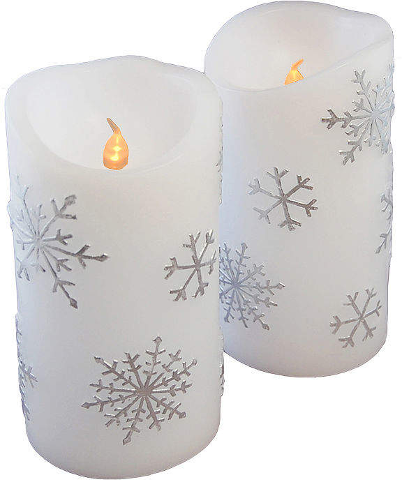 Battery Operated LED Candles - Snowflake (Set of 2)
