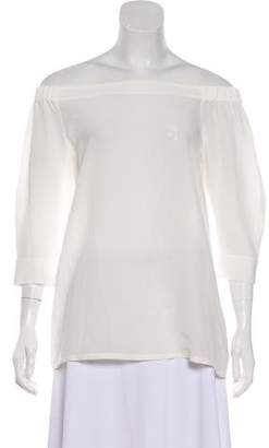 Theory Silk Off-The-Shoulder Blouse