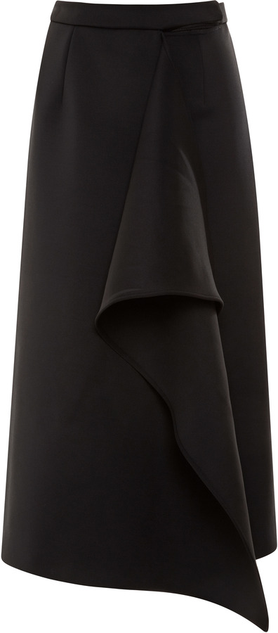 Kenzo Waterfall-Ruffled Neoprene Midi Skirt
