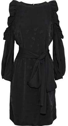 Maje Cold-Shoulder Ruffled Metallic Satin-Jacquard Dress