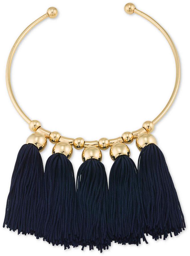 Trina Turk Gold-Tone Navy Tassel Collar Necklace