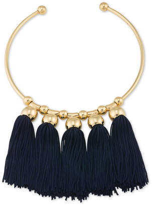 Trina Turk Gold-Tone Navy Tassel Collar Necklace