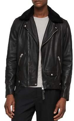 AllSaints Brett Leather Biker Jacket with Shearling Collar