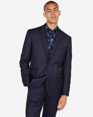 Express Slim Navy Luxury 100% Wool Suit Jacket