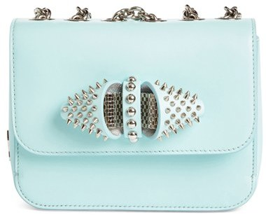 Christian Louboutin  Christian Louboutin 'Baby Sweet Charity' Spiked Calfskin Shoulder/crossbody Bag - Blue