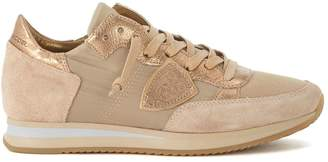 Philippe Model Tropez Sneaker In Beige And Bronze Suede And Fabric.