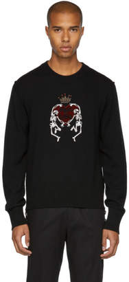 Dolce & Gabbana Black Skeleton Love Crown Sweater