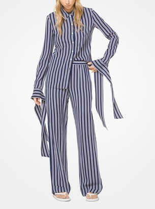 Michael Kors Striped Silk-Georgette Pajama Pants