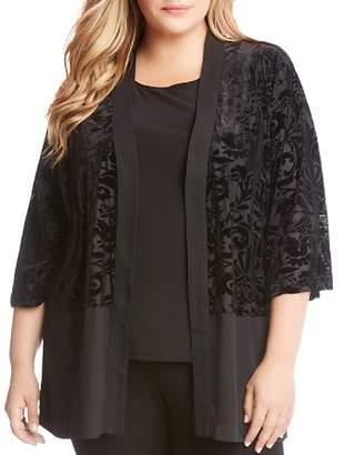 Karen Kane Plus Burnout Velvet Kimono