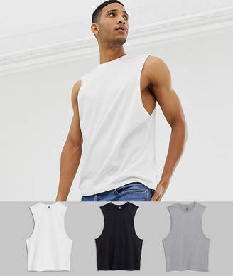 Asos DESIGN organic relaxed sleeveless t-shirt with dropped armhole 3 pack SAVE