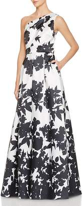 Carmen Marc Valvo Infusion One-Shoulder Floral Print Gown $398 thestylecure.com