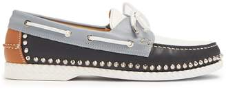 Christian Louboutin Steckel stud-embellished leather deck shoes