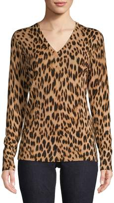 Lord & Taylor Leopard-Print Merino Wool V-Neck Sweater