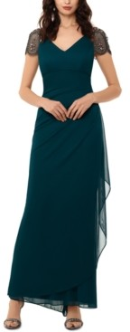 Xscape Evenings Beaded Cap-Sleeve Gown
