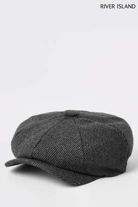 76e5891b8617 River Island Mens Grey Herringbone Baker Boy Cap - Grey