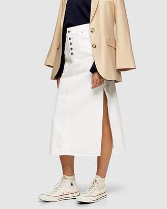 Topshop Button Midi Skirt