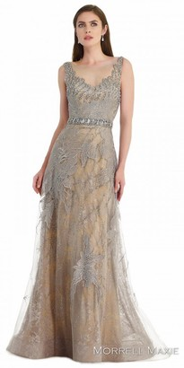 Morrell Maxie Two Tone Beaded Overlay Evening Dress $578 thestylecure.com