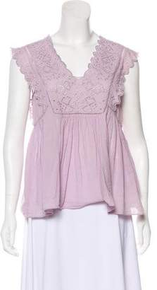 Rebecca Taylor Embroidered Sleeveless Top