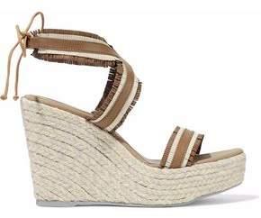 Manebi Fringed Leather Espadrille Wedge Sandals