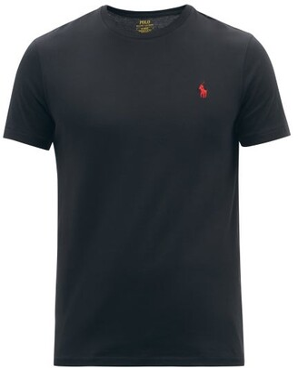 Polo Ralph Lauren Logo Embroidered Cotton Jersey T Shirt - Mens - Black