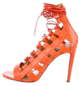 Aquazzura Snakeskin Caged Sandals