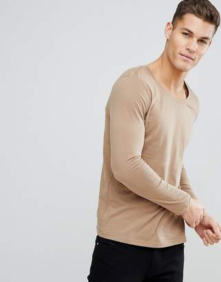 BEIGE ASOS DESIGN scoop neck t-shirt with long sleeves in