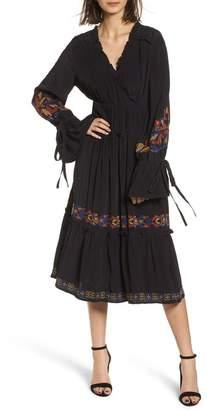 Hinge Embroidered Midi Dress
