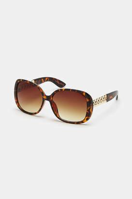 Ardene Tortoiseshell Square Chain Sunglasses