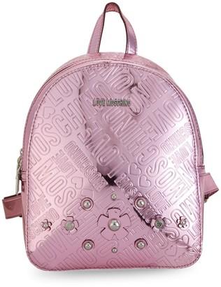 Love Moschino Metallic Embossed Logo Backpack