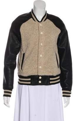 Mother Faux Leather Letterman Jacket