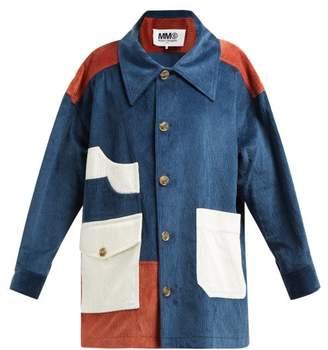 MM6 MAISON MARGIELA Cotton Blend Corduroy Coat - Womens - Blue Multi