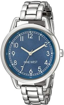 Nine West Women's NW/1691BLSB Easy-to-Read Blue Silver-Tone Watch