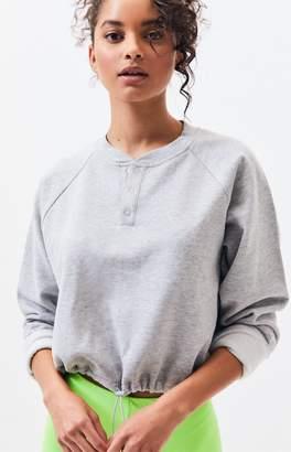 LA Hearts Carmel Snap Front Cropped Sweatshirt