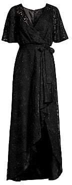 Aidan Mattox Women's Long Burnout Ruffled Wrap Dress