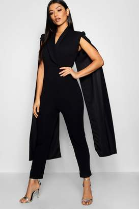 boohoo Cape Lepel Collar Jumpsuit