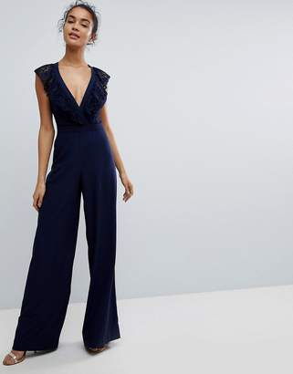 Asos DESIGN Wrap Lace Jumpsuit with Wide Leg